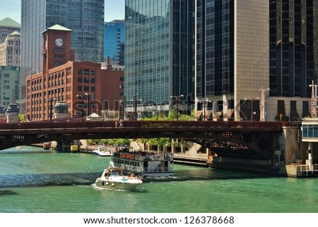 Downtown Chicago Waterfront, Illinois USA - stock photo