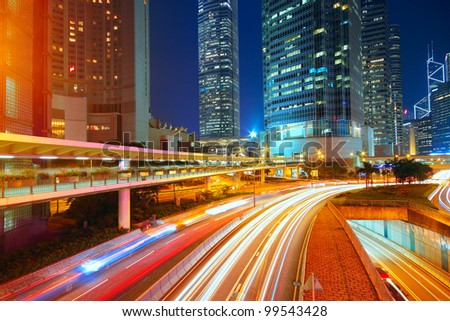 downtown city night - stock photo