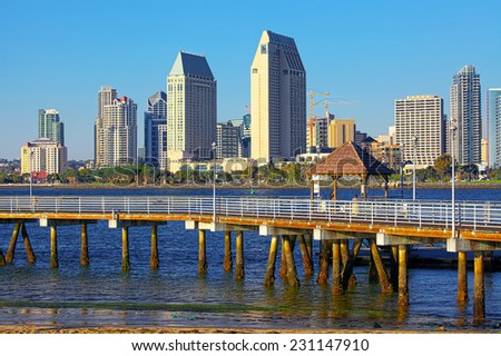 Downtown City of San Diego California with Pier - stock photo