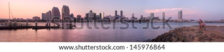 Downtown City of San Diego, Southern California, Sunset