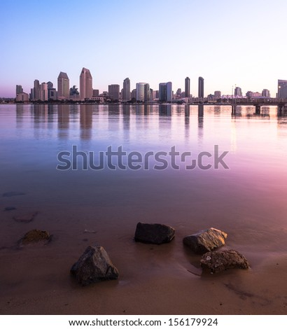 Downtown City of San Diego with Buildings Reflecting in San Diego Bay. San Diego, California USA  - stock photo