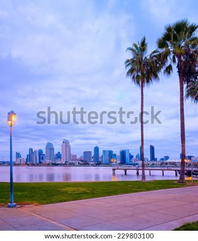 Downtown City View and Palm Trees Coronado Island of San Diego, California, USA - stock photo