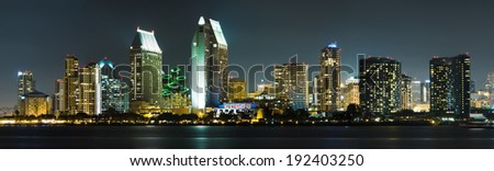 Downtown Cityscape with Buildings Reflecting, City of San Diego, California USA - stock photo