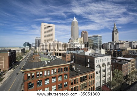 Downtown Cleveland during spring day. - stock photo