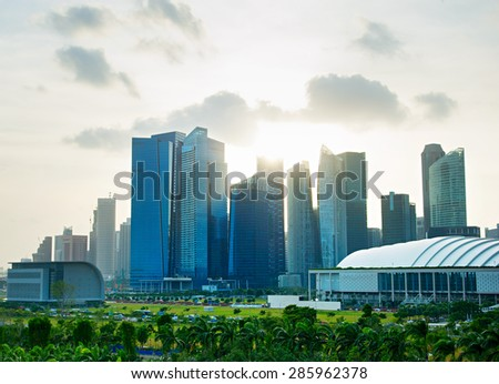 Downtown Core of Singapore. View from Garden by the Bay. - stock photo
