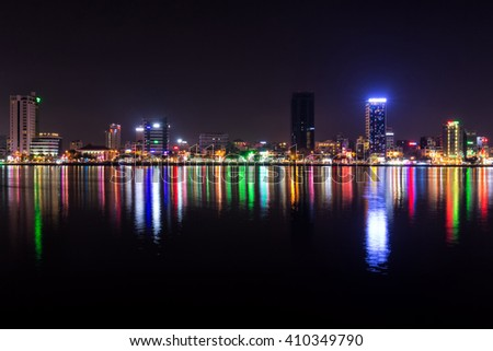 Downtown Da Nang, Vietnam as seen at night looking west across the Han River. 21 February, 2016.