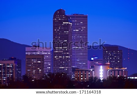 Downtown Denver City Skyline at Night. Denver, Colorado, USA. - stock photo