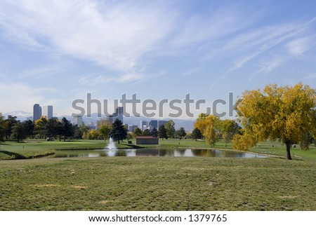 Downtown Denver from City Park golf course