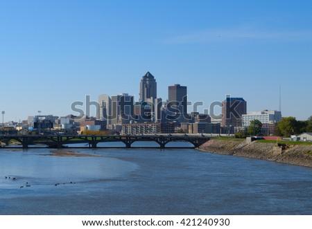 Downtown Des Moines Iowa skyline - stock photo