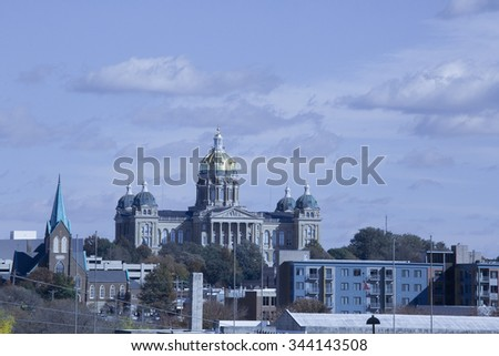 Downtown Des Moines, Iowa, with capitol building - stock photo