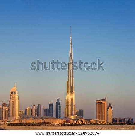 DOWNTOWN DUBAI, UAE - MAY 7 - Burj Khalifa, the tallest skyscraper in the world, 829.8 m. Construction began in 2004. The building officially opened on January 4, 2010.   on May 7, 2010. - stock photo