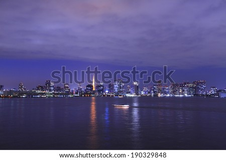 Downtown dusk and the Port of Tokyo - stock photo