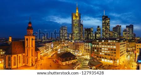 Downtown Frankfurt at night, Germany - stock photo