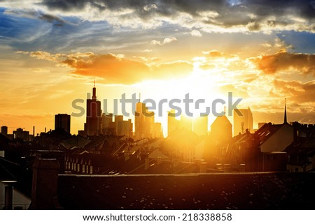 Downtown Frankfurt at sundown, Germany - stock photo