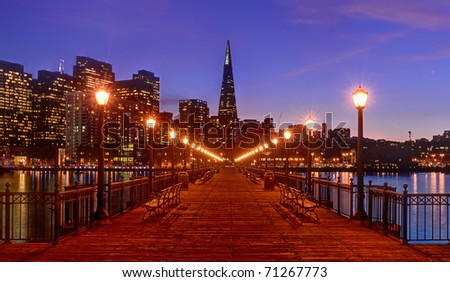 Downtown from Pier 7 in San Francisco, California - stock photo
