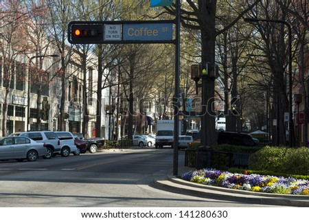 Downtown, Greenville, SC - stock photo