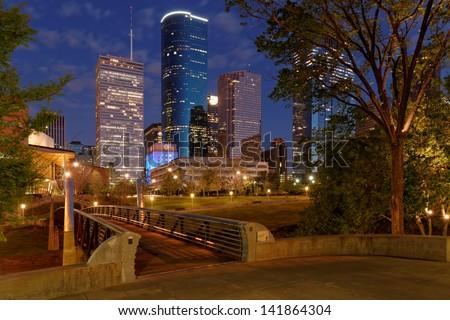Downtown Houston from Buffalo Bayou hike and bike trail - stock photo