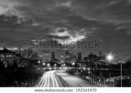 Downtown Houston Skyline Black and White at Dawn