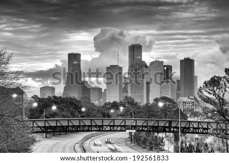 Downtown Houston Skyline in Black and White