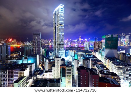 downtown in Hong Kong view from high at night - stock photo