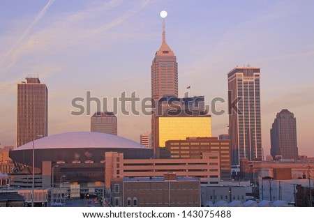 Downtown Indianapolis at Sunrise, Indianapolis, Indiana - stock photo