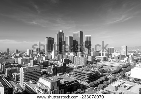 Downtown LA Los Angeles skyline cityscape California in black and white - stock photo