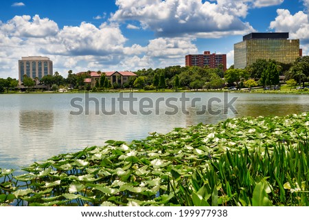 Downtown Lakeland, Florida, on Lake Mirror - stock photo