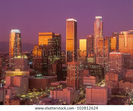 Downtown Los Angeles, California at sunset - stock photo