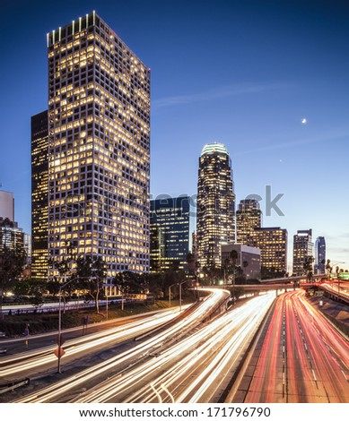 Downtown Los Angeles, California cityscape above the interstate. - stock photo