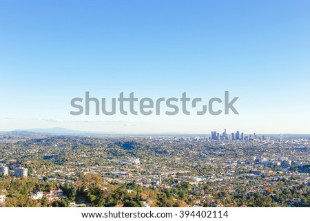 Downtown Los Angeles from Griffith Park  - stock photo