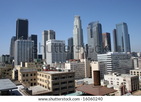Downtown Los Angeles on a sunny afternoon - stock photo