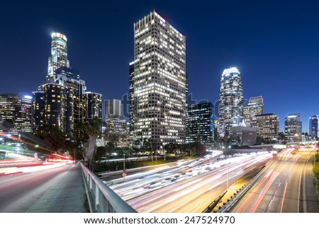Downtown Los Angeles overlooking the 110 freeway  - stock photo