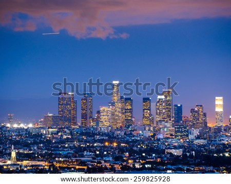 Downtown Los Angeles skyline at night - stock photo