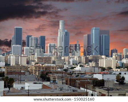 Downtown Los Angeles with sunset sky. - stock photo