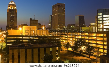 Downtown Louisville, Kentucky - seen before the sunrise - stock photo