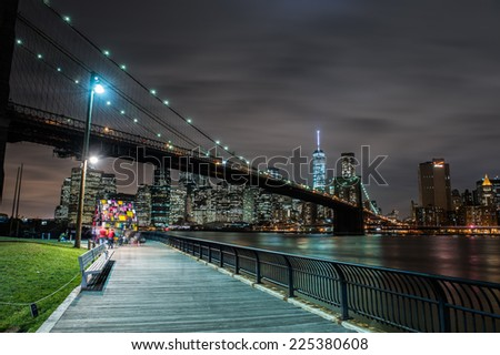 Downtown Manhattan and the Brooklyn Bridge - stock photo