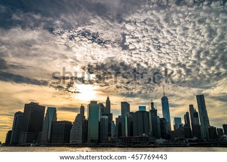 Downtown Manhattan skyline at summer
