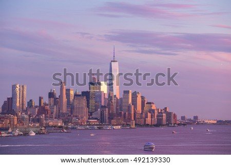 Downtown Manhattan skyline at sunset New York City