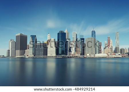 Downtown Manhattan skyline over East River in New York City