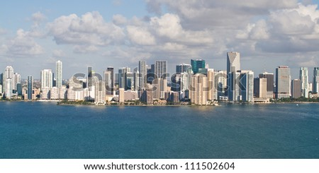 Downtown Miami and its financial district viewed from 200 feet. - stock photo