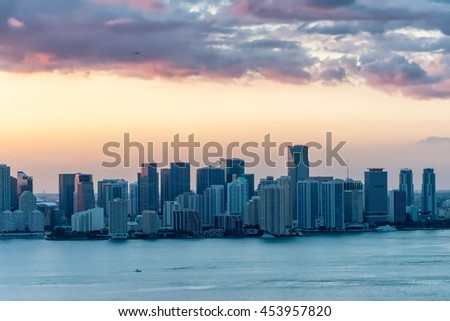 Downtown Miami at dusk, Florida. - stock photo