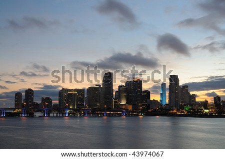 Downtown Miami at dusk, Florida USA - stock photo