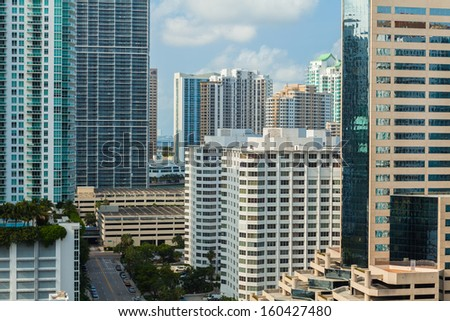 Downtown Miami cityscape view with condos and office buildings. - stock photo