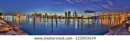 Downtown Miami hdr panorama - stock photo