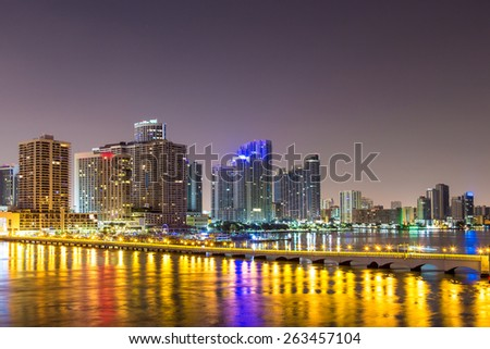 Downtown Miami, Night city - stock photo