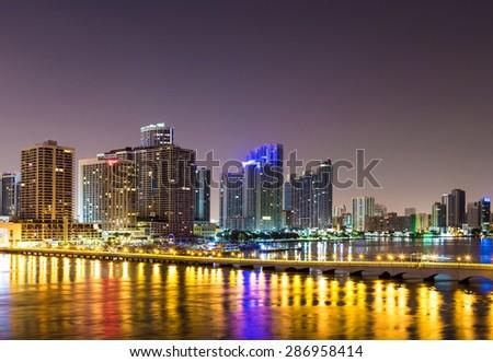 Downtown Miami, Night cityscape  - stock photo