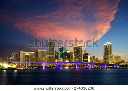 Downtown Miami skyline at dusk, Florida, United States - stock photo