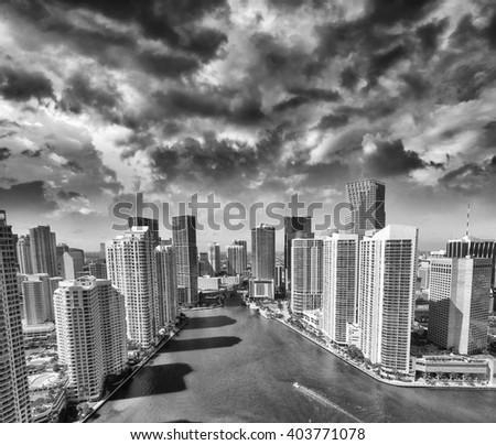 Downtown Miami skyline, beautiful aerial view on a sunny day.