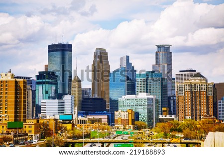 Downtown Minneapolis cityscape on a cloudy day