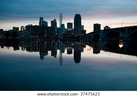 Downtown Minneapolis from St Anthony Main - stock photo